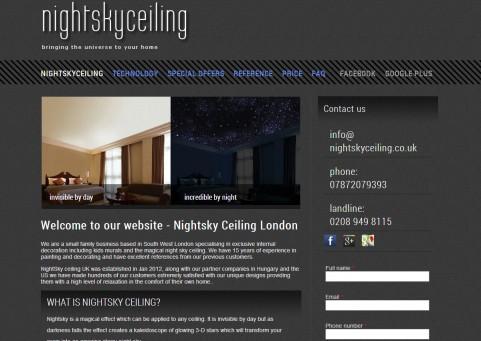 SpaceboyDesign - NightSkyCeiling London honlapkészítés referencia